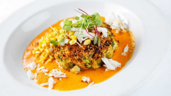 Crab Cake with Corn and Red Pepper Cream